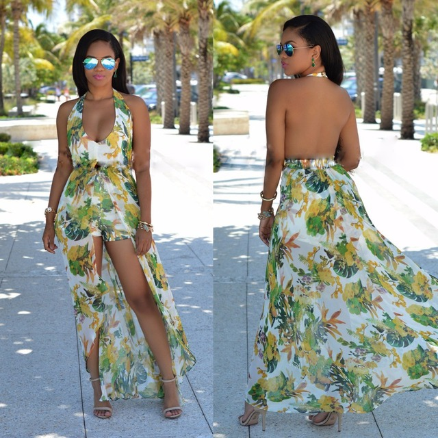 Fashion women casual summer sexy chiffon deep v-neck floral print halter backless jumpsuit playsuits rompers combinaison femme