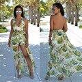 Mulheres moda casual verão chiffon sexy profundo decote em v floral imprimir halter backless jumpsuit playsuits macacão combinaison femme