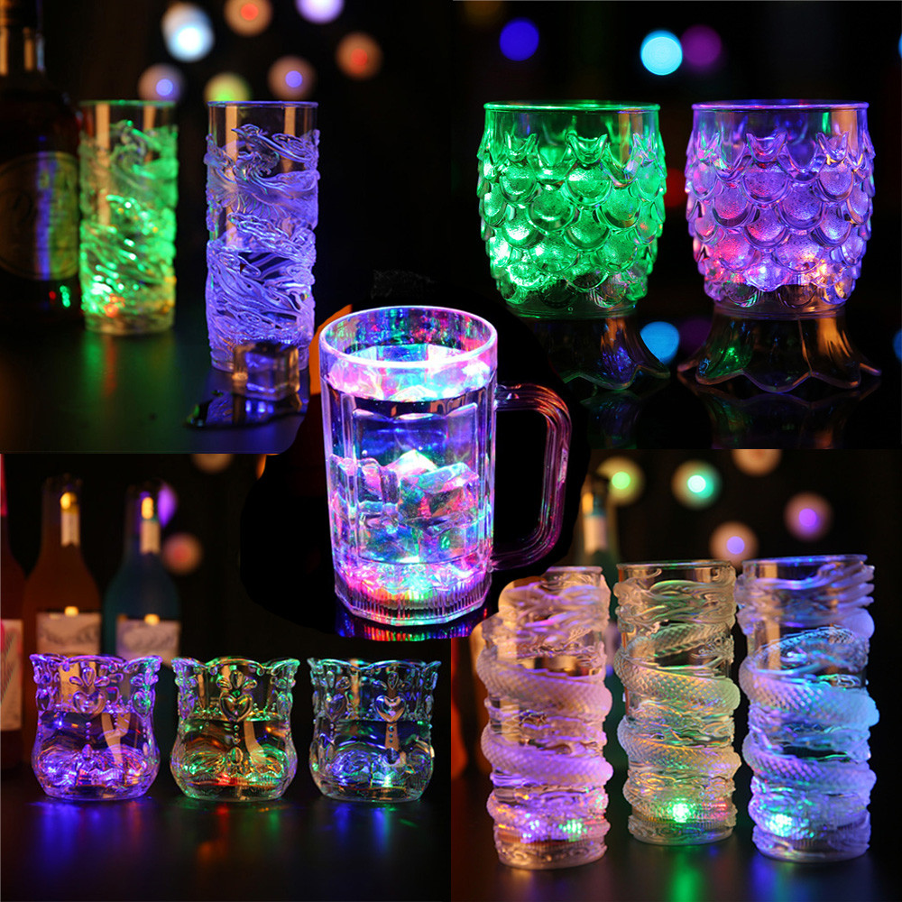 400-480ml 4 Types <font><b>LED</b></font> Dragon <font><b>Inductive</b></font> Rainbow <font><b>Color</b></font> <font><b>Flashing</b></font> <font><b>Light</b></font> Glow Mugs Glasses ABS Plastic Beer <font><b>Cup</b></font> Tea <font><b>Water</b></font> Drink <font><b>Cups</b></font>