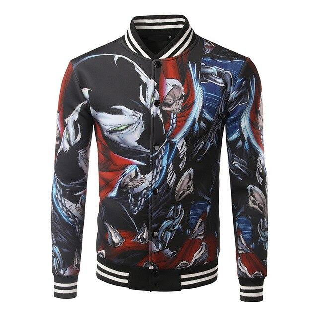 2017 New 3D Stereoscopic Print Bomber Jacket Men Autumn Casual Sweatshirt Coat for Men Brand Baseball Jacket
