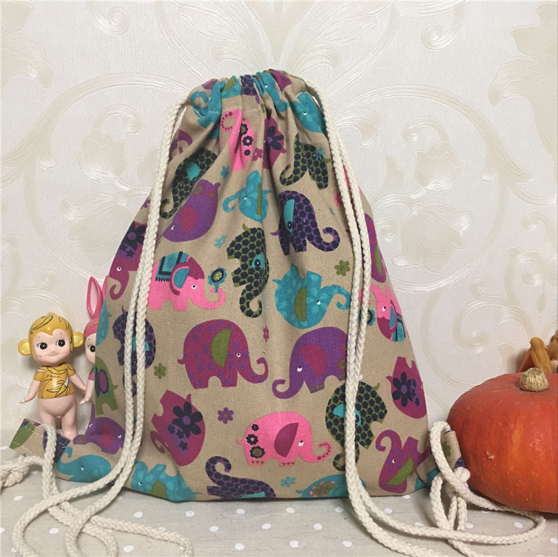 YILE New Cotton Canvas Draw String Backpack Travelling Bag Student Book Bag Elephant Khaki Base B089