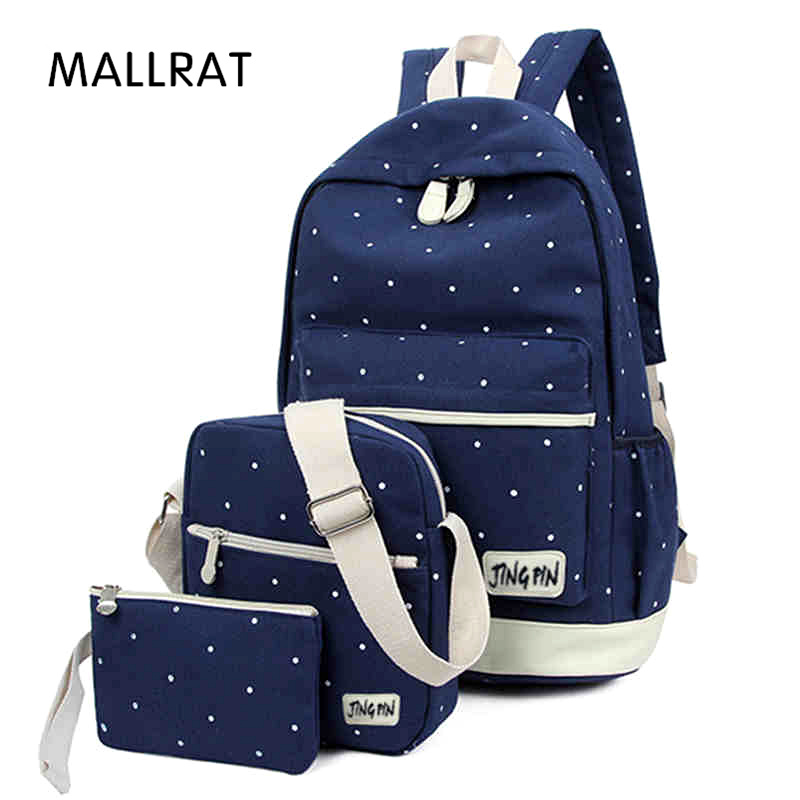 MALLRAT Women Backpack Fresh Canvas School Bag For Teenager Large Capacity Student Book Bag With Purse Laptop 3pcs/set Ladies