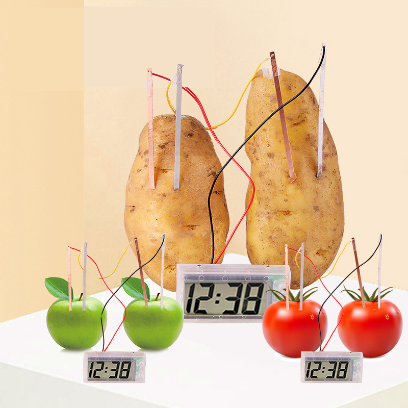 Novel Creative Fruit Potato Clock Vegetable Fruit Green Energy Science learning education toys school Experiment tool Kit