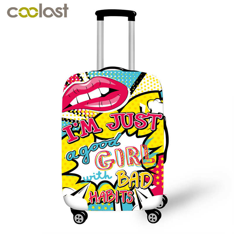 Kiss Me Pink Suitcase Protective Cover Red Lips Travel Bag Cover Elastic Trolly Luggage Case Cover Dust-proof Travel Accessories