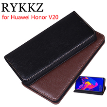 RYKKZ Luxury Leather Magnetic Flip Cover For Huawei Honor V20 6.4 Mobile Stand Case Phone