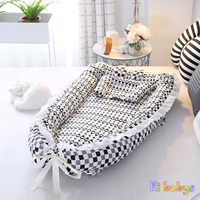 Baby Nest Bed Portable Toddler Size Nest Pure Catton Infant Toodler Foldable Crib Baby Nest Folding bed For Newborn and Infant