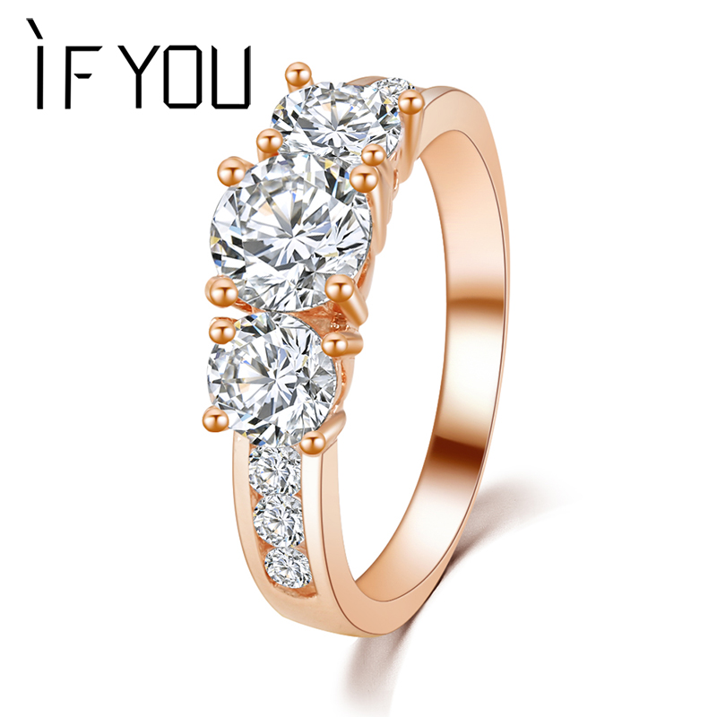 IF YOU Brand New Design High quality Fashion Elegant Romantic Noble Gold Silver Color Crystal Rings Engagement jewelry Gift