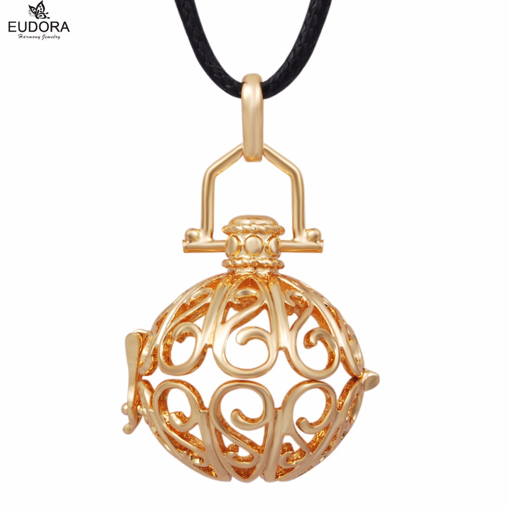 5H168 5PCS/lot Gold-Color Copper Locket Pendant Musical Sounds Jewelry fit 20mm harmony bola ball Wholesales