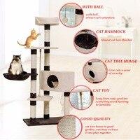 Внутренние поставки H139cm кошачьи игрушки дом кровать котенка висит шары дерево Pet мебель и скребок дерево для товары кошек восхождение рамки