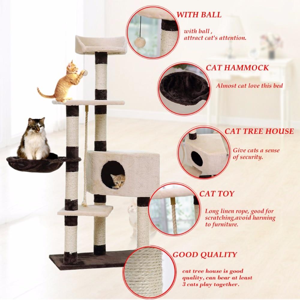 Pengiriman domestik H139cm Kucing Mainan Kucing Rumah Kucing Tidur - Produk hewan peliharaan - Foto 1