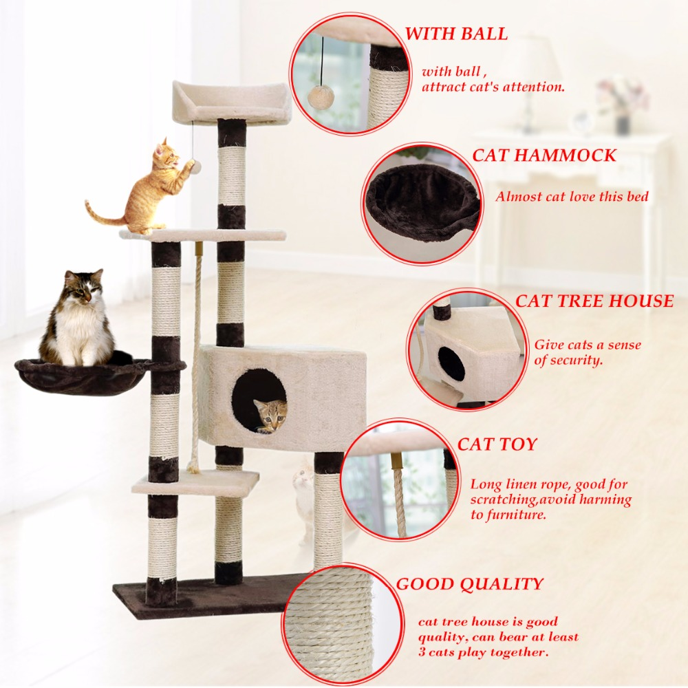 Domestic Delivery H139cm Cat Toys Cat House Kitten Bed Hanging Balls Tree Pet Furniture&Scratchers Wood for Cats Climbing Frame