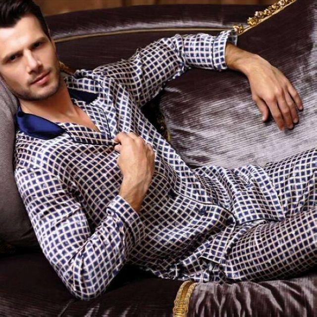 Роскошные Мужские Шелковый Атлас Пижамы Пижамы Пижамы Pjs Пижамы Набор USS, M, L, XL с Длинными Рукавами Синий