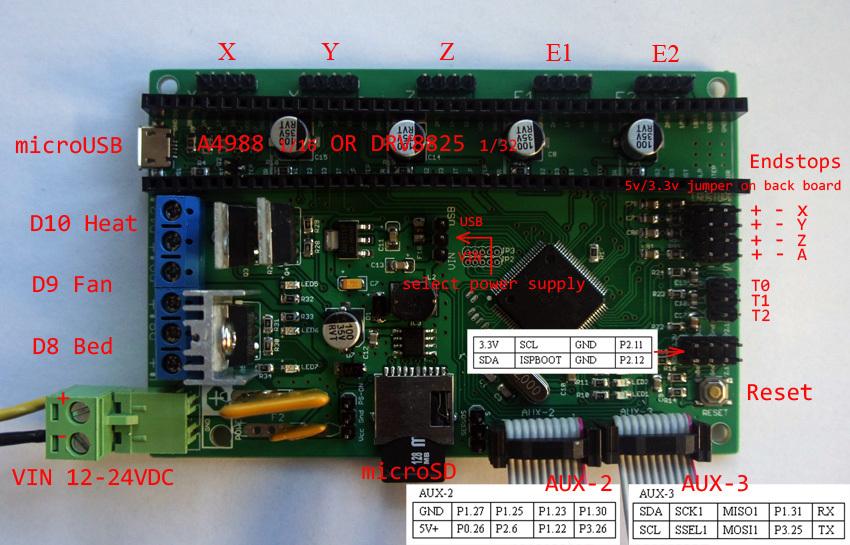 Prix pour AZSMZ 32bit Ver2.1 BRAS Contrôleur pour 3D imprimantes, Machines CNC, Découpe Au Laser (Comme Azteeg x5 mini smoothieboard) rampes Up