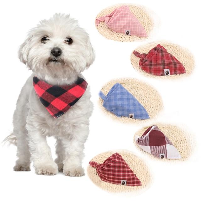 כלב בנדנות כלב אביזרי כותנה משובץ רחיץ חיות מחמד בנדנות צעיף עניבות פרפר צווארון חתול Samll התיכון גדול כלב אבזרים