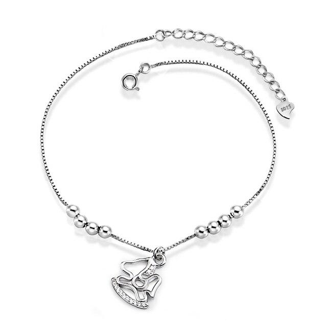 Trojans Sinya 925 Sterling Silver charm bracelet para as mulheres menina brithday presente de Natal Da Mãe 2016 nova chegada Tornozeleiras jóias
