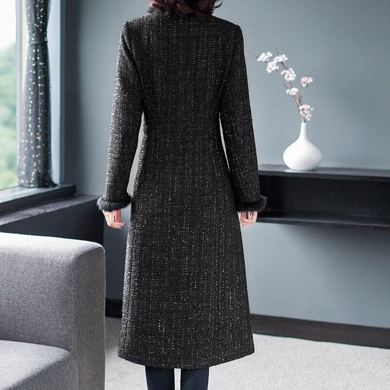 Marque Mode Survêtement De 2018 Laine Plaid Vintage Manteaux Femmes D'hiver Pardessus Complet Longue Élégant Noir Vestes Et Tweed Manches r5rTxRqn4w