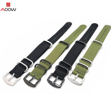 AOOW Nylon NATO Watch Strap Zulu Strap Ring Buckle Black Army Green Canvas Replacement Watchband 20mm 22mm 24mm Watchband Strap