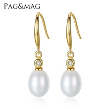 PAG&MAG Brand Classic Fine Jewelry Freshwater Natural Pearl S925 Silver Jewelry Drop Earrings for Daily Wear Women Gift