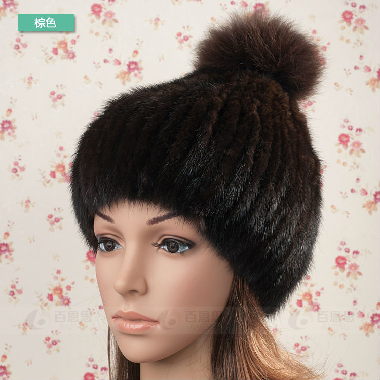 Real Mink Fur Hat and Beanie Cap with Fox Fur Ball Luxury knit mink fur hat winter fur hat