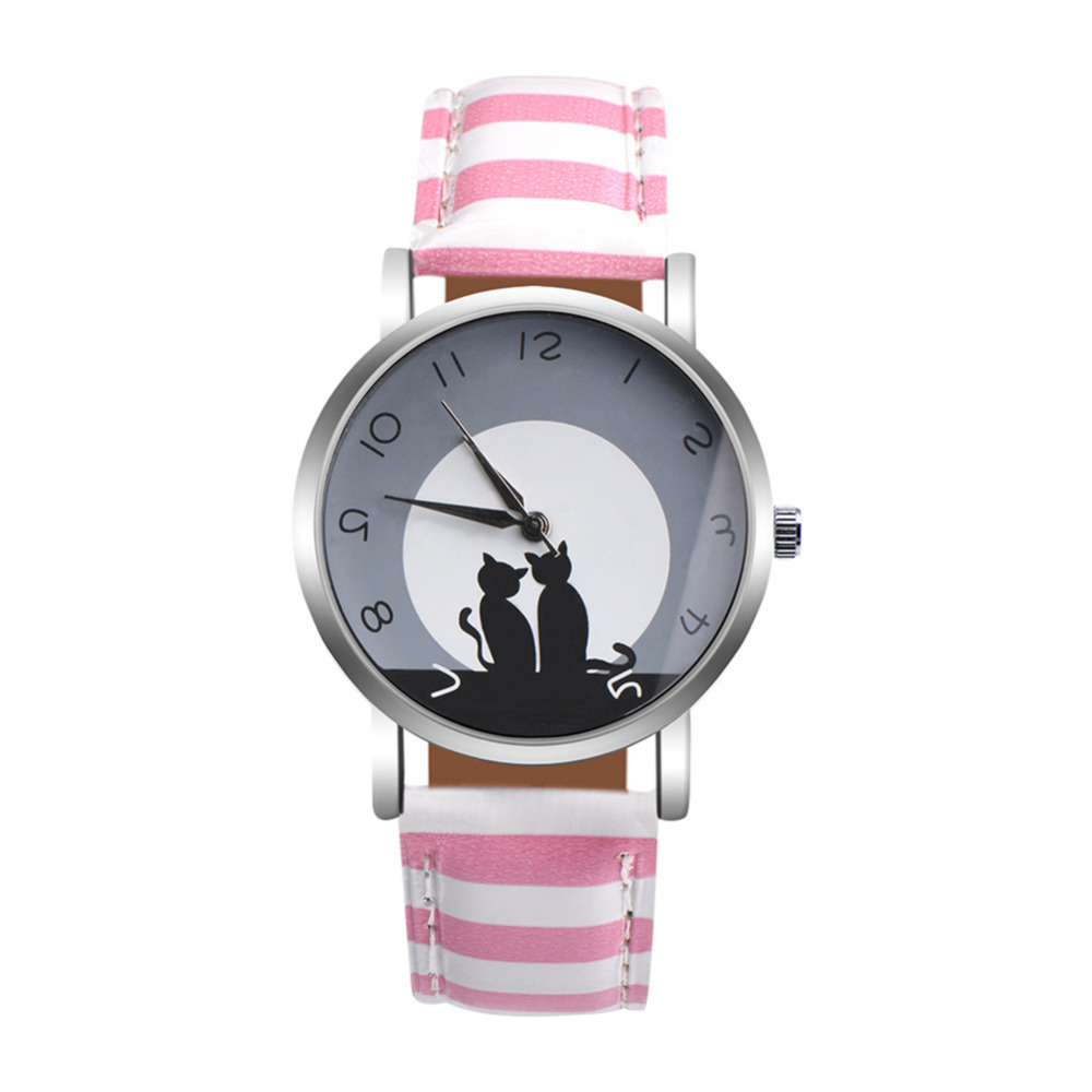 Quartz Watch Clock Woman High Quality Cute Cat Printed Women's Watches Faux Leather Analog Ladies Girl Gift Casual Sport Watches yazole cute lovely cartoon number children watches fashion boys girl casual kids clock high quality wholesale christmas gift e47