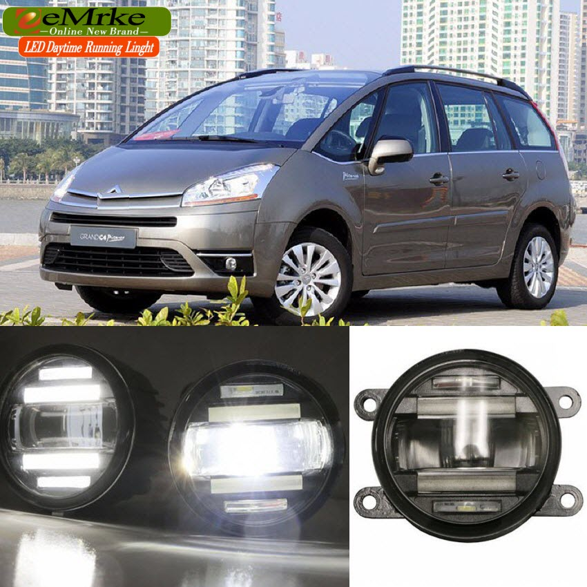 eeMrke Car Styling For Citroen C4 PICASSO 2006- up 2 in 1 Multifunction LED Fog Lights DRL With Lens Daytime Running Lights for citroen c4 picasso ud