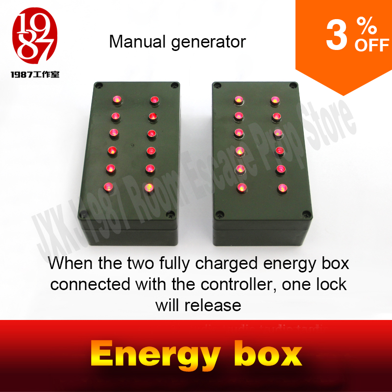 Room escape prop manual generator energy box rotate the handle to fully charge two boxs to
