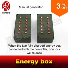 Room escape prop manual generator energy box rotate the handle to fully charge two boxs to unlock jxkj1987 escape adventure game