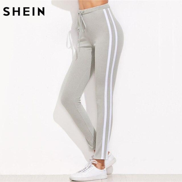 9170713fa5 SHEIN High Waist Pants Trousers Women Drawstring Waist Skinny Pants Grey  Ribbed Knit Striped Sideseam Sweatpants