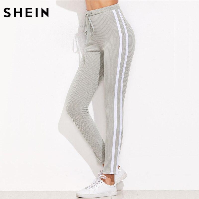 SHEIN High Waist Pants Trousers Women Drawstring Waist Skinny Pants Grey Ribbed Knit Striped Sideseam Sweatpants