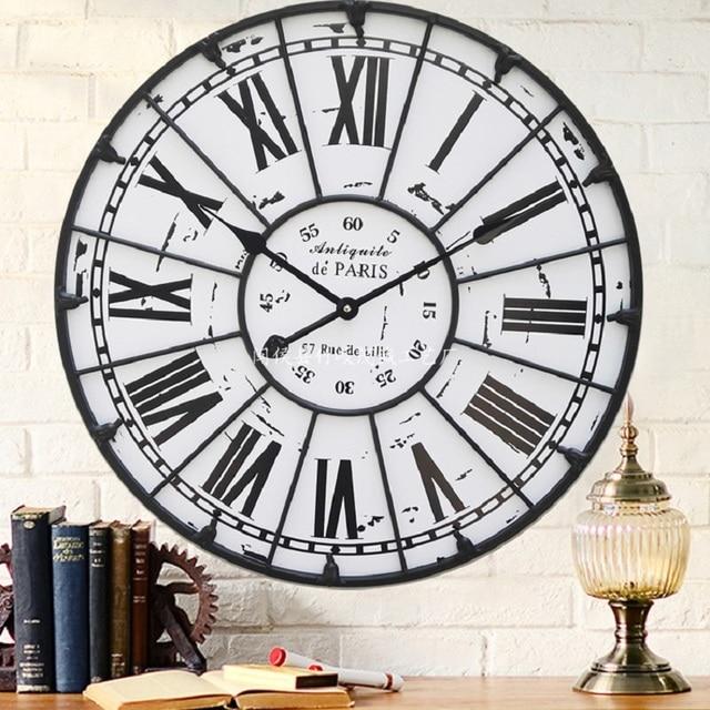 47c02ade5eb 60 cm Grande Algarismos Romanos Relógios de Parede Relógio de Parede Reloj  Saat Duvar Saati Horloge