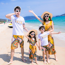 summer 2018 family matching outfits mom and daughter dress father son t shirt bohemian vintage dress yellow flower beach pants