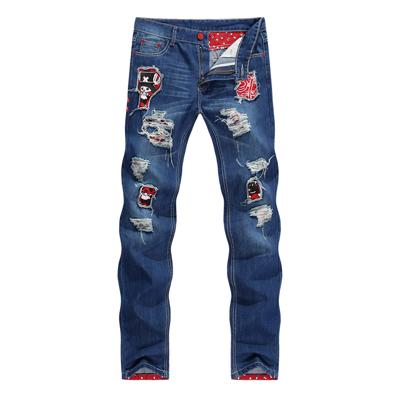 Style Patchwork Mens Jeans Straight Slim Fit Ripped Classic Rap Tapered Hip Hop Biker Jeans Men Punk Skull Denim Students Pants men s skinny slim denim washed hip hop jeans vintage ripped biker classic slim pants relaxed fit bootcut jeans mens