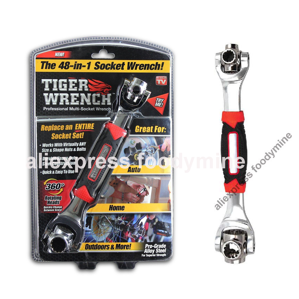 Tiger Wrench 48 in 1 Tools Socket Works with Spline Bolts Torx 360 Degree 6-Point Universial Furniture Car Repair