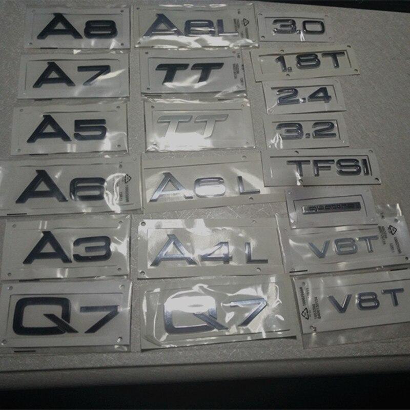 2 farben Audi Aufkleber Auto Modle Aufkleber Stamm Abzeichen A1 A3 A4 A5A6 A7 A8 Q3 Q5 Q7 TT Brief mark Hinten Logo Emblem