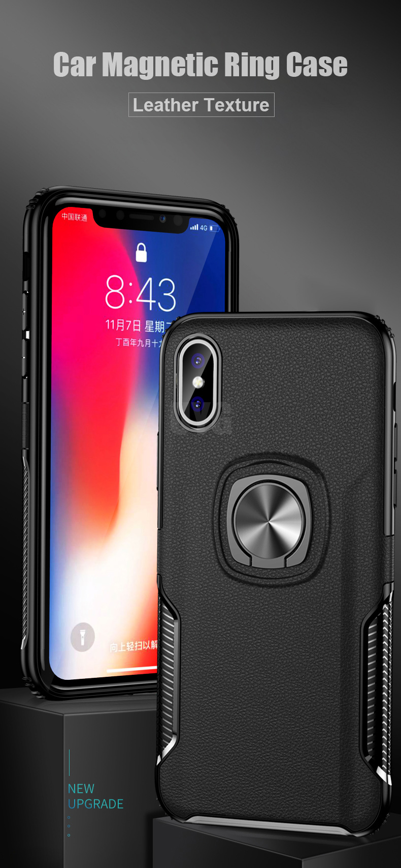 Luxury Leather texture Bracket case For iPhone x xs max xr Shockproof armor cover For iphone 6 6s 7 8 plus case with ring holder (1)