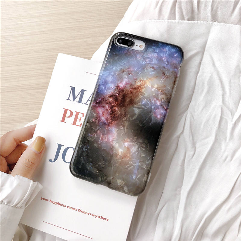 For Iphone X XS MAX XR Shiny Starry Sky Case Shell Grain Soft TPU Marble IMD Back Cover For Iphone 8 7 6 6S Plus Silicone Fundas in Fitted Cases from Cellphones Telecommunications