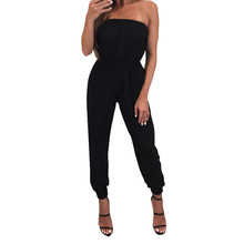 Ladies Tube Top Jumpsuit Casual Solid Color Siamese Pants Black off-the-shoulder jumpsuit Summer new Mameluco sin manga H-NEW