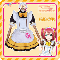 Anime lovelive sunshine Aqours Kurosawa Ruby Cosplay Costume Restaurant cafe dessert stripe maid outfit
