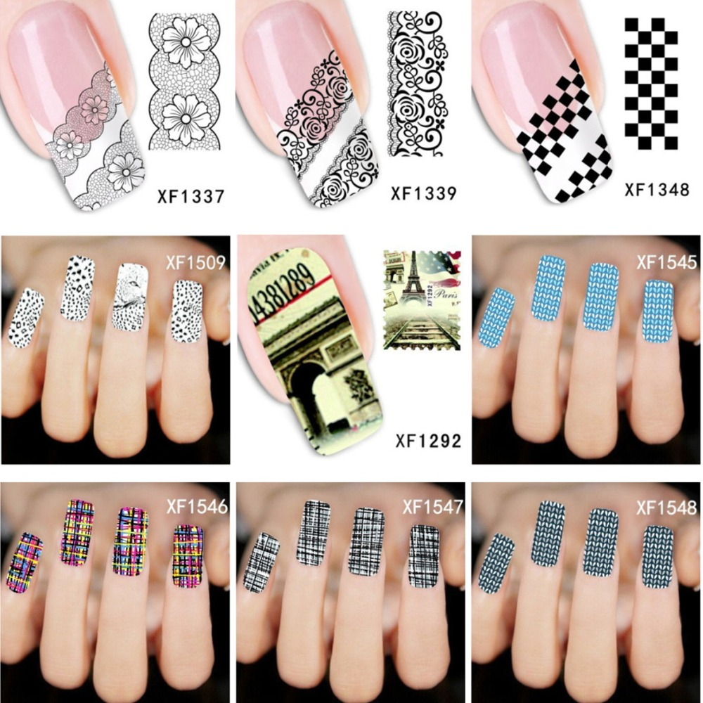 Water Transfer Nail Art Stickers Decal Beauty Lace Plaid