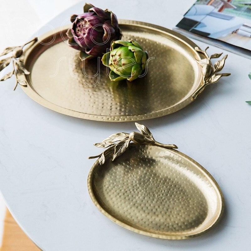 Cocostyles InsFashion haut de gamme ovale marteau grain fait à la main en laiton plateau à dessert pour nobiliaire événement de mariage et décor à la maison