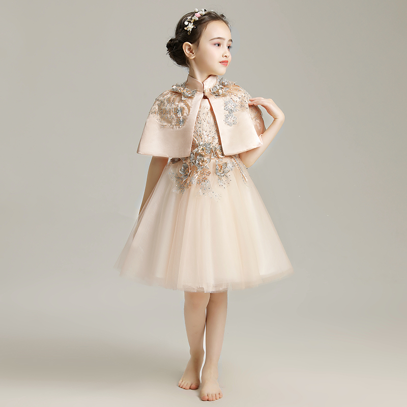 Sequins Elegant   Flower     Girl     Dress   With Shawl For Wedding Sleeveless Cute Communion Ball Gown Children Prom Pageant   Dresses