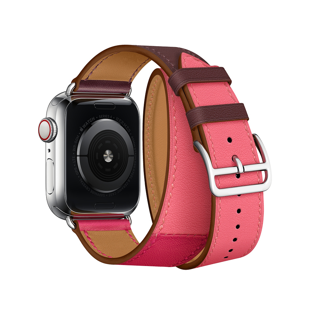 Double tour Leather strap For apple watch band apple watch 5 4 3 band 40mm 44mm correa iwatch 5 42mm 38mm watchband belt