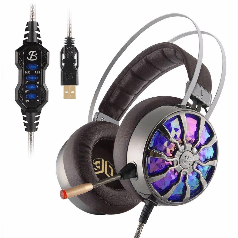 NiUB5 PC65 Lumineux Gaming Headset 2017 Mode Super Bass 3D Immersive 7.1 Son Surround Rougeoyant Choc Casque pour Ordinateur