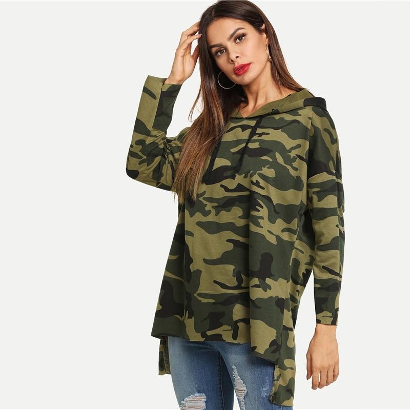 Asymmetrical Hem Fashion Camouflage Hoodie For Women