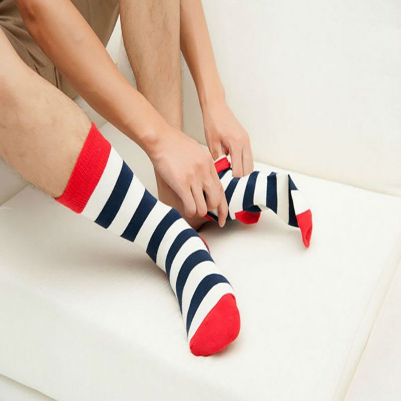 1 Pairs Print Dot / Striped / Block Men Socks Man Harajuku Patchwork Socks Fashion Summe ...