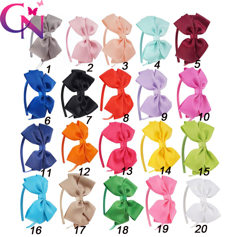 11 Pcs/lot Plain Ribbon Bow Hairbands With Satin Covered For Kids Girls Handmade Hard Hair Bows Headbands Hair Accessories
