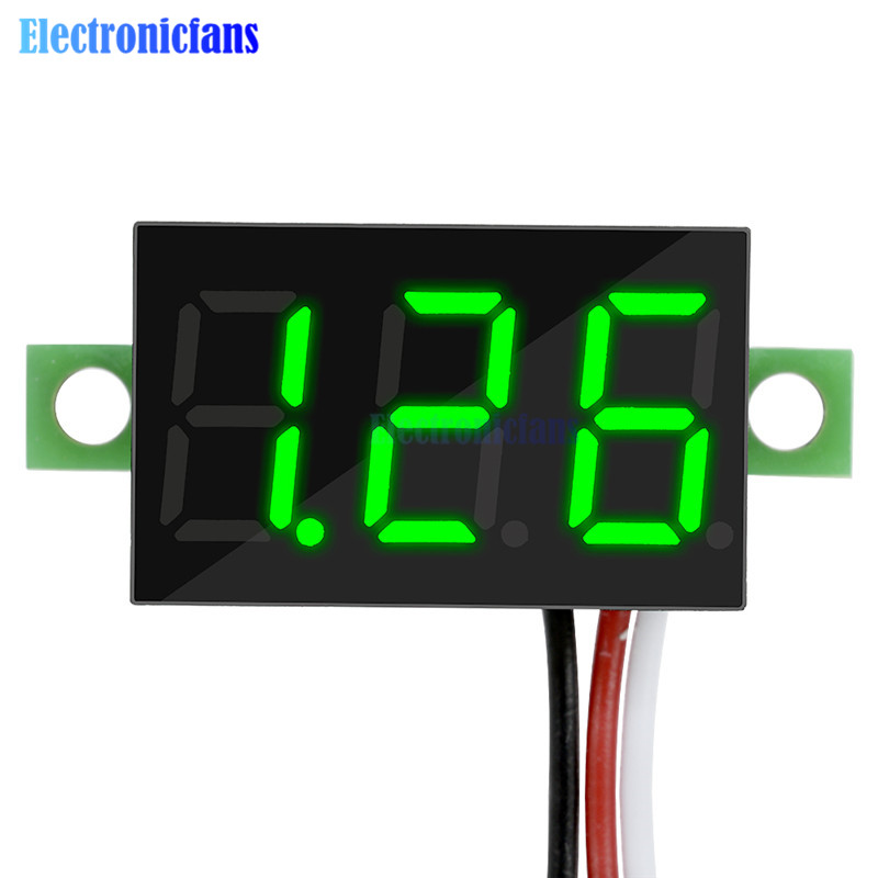 0.36 Inch 3 Wires DC 0-30V Green LED Panel Voltage Meter 3-Digital Display Voltmeter