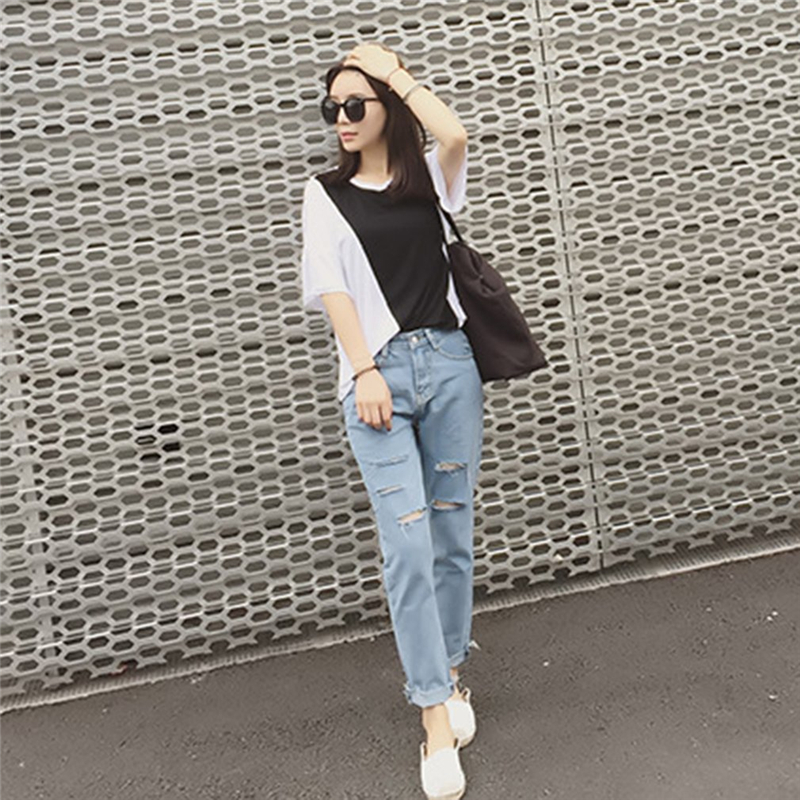 Women New Fashion Cotton Jeans Female Loose Low Waist Washed Vintage Big Hole Ripped Long Denim Pencil Pants Casual Trousers spring new fashion cotton jeans women loose high waist washed vintage big hole ripped ankle length denim straight pants mz1535
