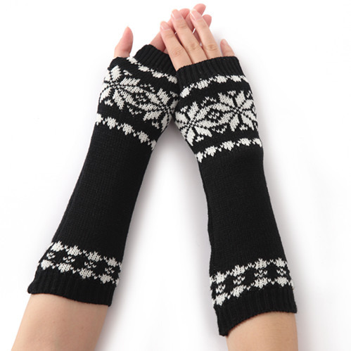 New Men And Women Winter Knitted Sweater Gloves Snowflake Half Fingers High Quality Arm Warmers 1pair
