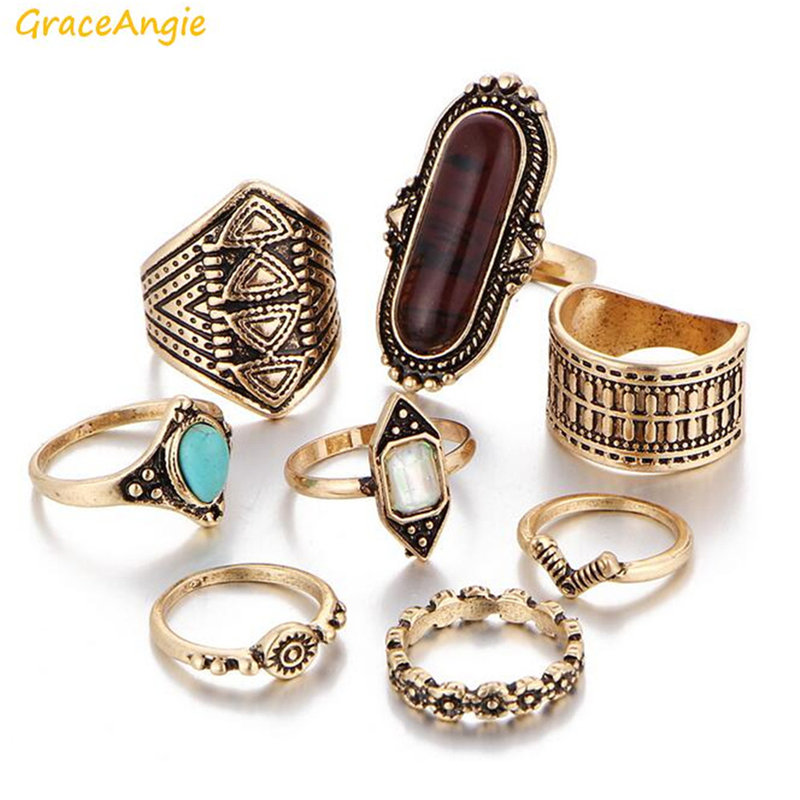 GraceAngie 8PCS/Set Alloy Artificial Gem Rings Exaggerate Bohemia Style Jewerly Nice Present for BOHO Personality Women Girls